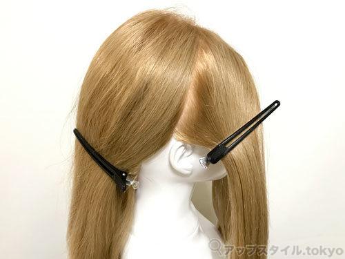 町娘ベルの髪型のブロッキングを解説しています。