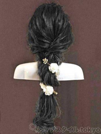 編み下ろし風ヘアアレンジを黒髪にした時の雰囲気のイメージです。