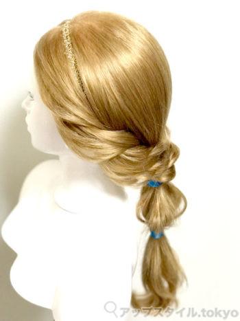『アラジン』ジャスミン風ヘアアレンジ(髪型)完成イメージ横