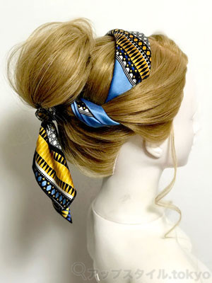 スカーフで作る!簡単シンデレラ風 エレガントアップヘアアレンジ